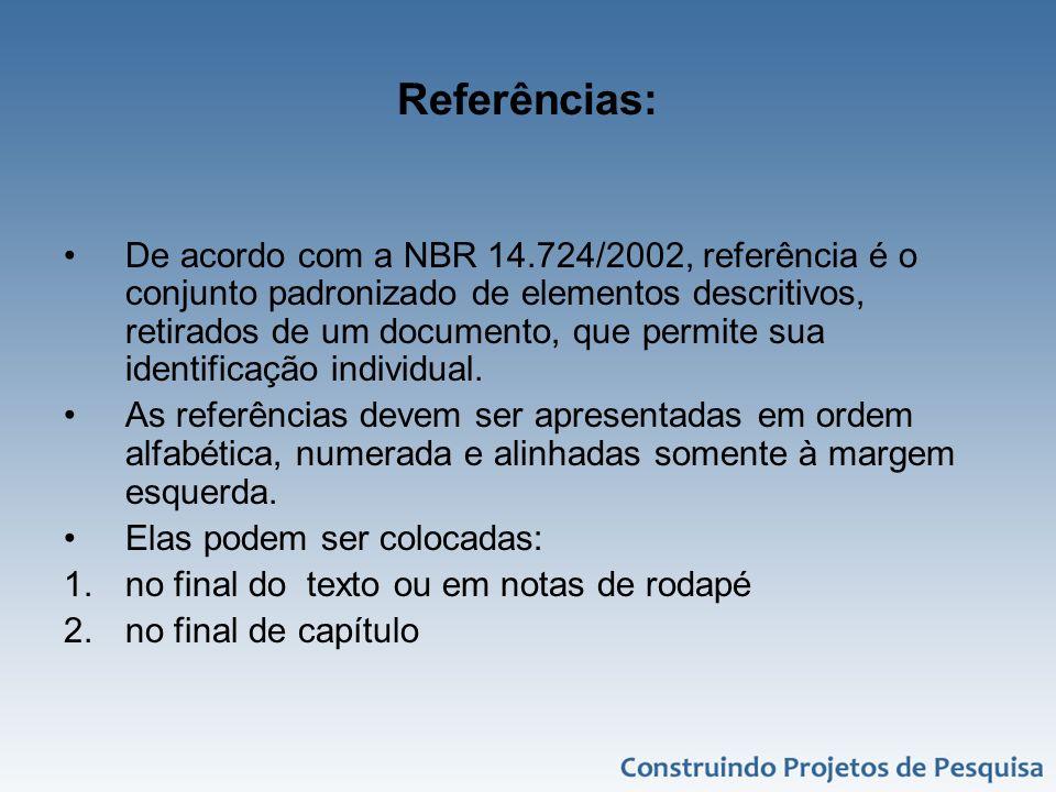 Referências: De acordo com a NBR 14.724/2002, referência é o conjunto padronizado de elementos descritivos, retirados de um documento, que permite sua