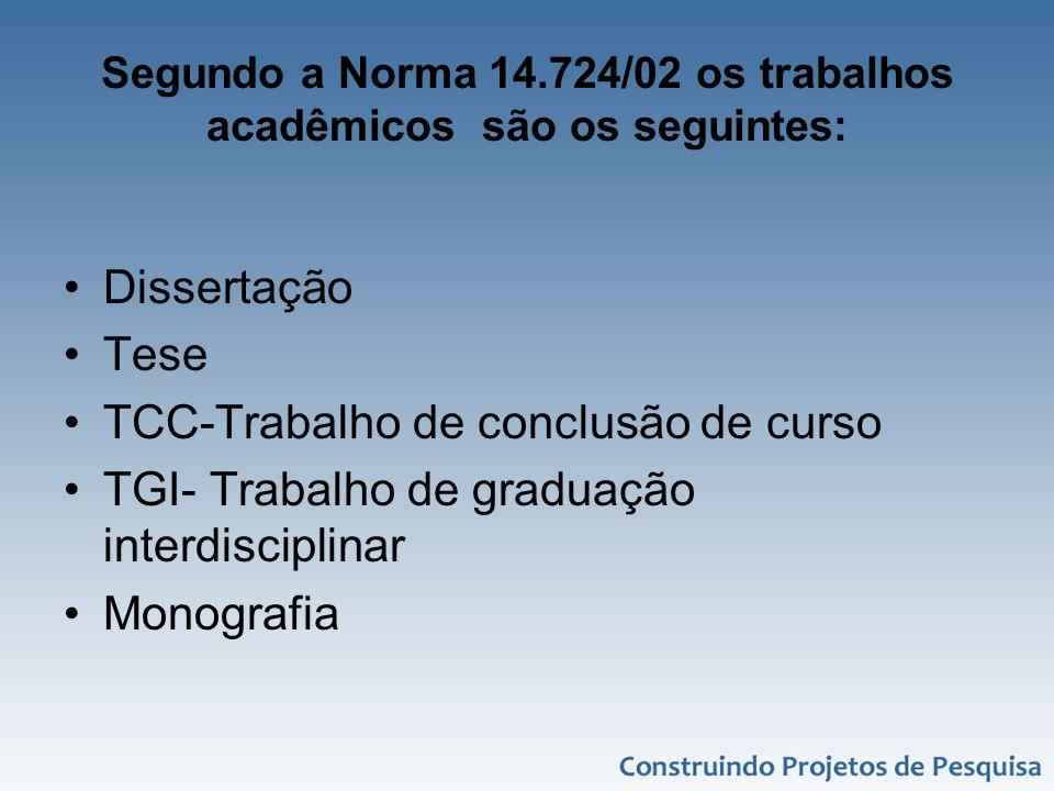 Segundo a Norma 14.724/02 os trabalhos acadêmicos são os seguintes: Dissertação Tese TCC-Trabalho de conclusão de curso TGI- Trabalho de graduação int