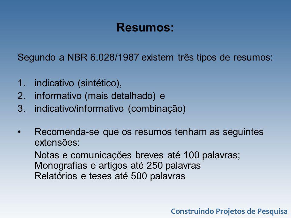 Resumos: Segundo a NBR 6.028/1987 existem três tipos de resumos: 1.indicativo (sintético), 2.informativo (mais detalhado) e 3.indicativo/informativo (