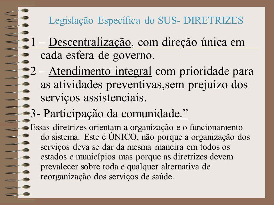 Legislação Específica do SUS- DIRETRIZES 1 – Descentralização, com direção única em cada esfera de governo.