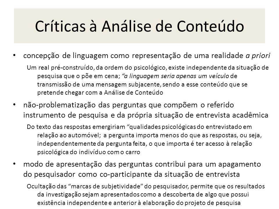 Críticas à Análise de Conteúdo concepção de linguagem como representação de uma realidade a priori Um real pré-construído, da ordem do psicológico, ex