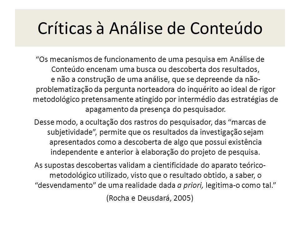 Críticas à Análise de Conteúdo Os mecanismos de funcionamento de uma pesquisa em Análise de Conteúdo encenam uma busca ou descoberta dos resultados, e