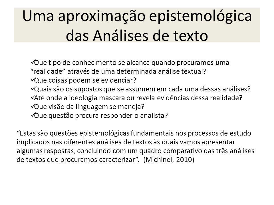 Uma aproximação epistemológica das Análises de texto Que tipo de conhecimento se alcança quando procuramos uma realidade através de uma determinada an