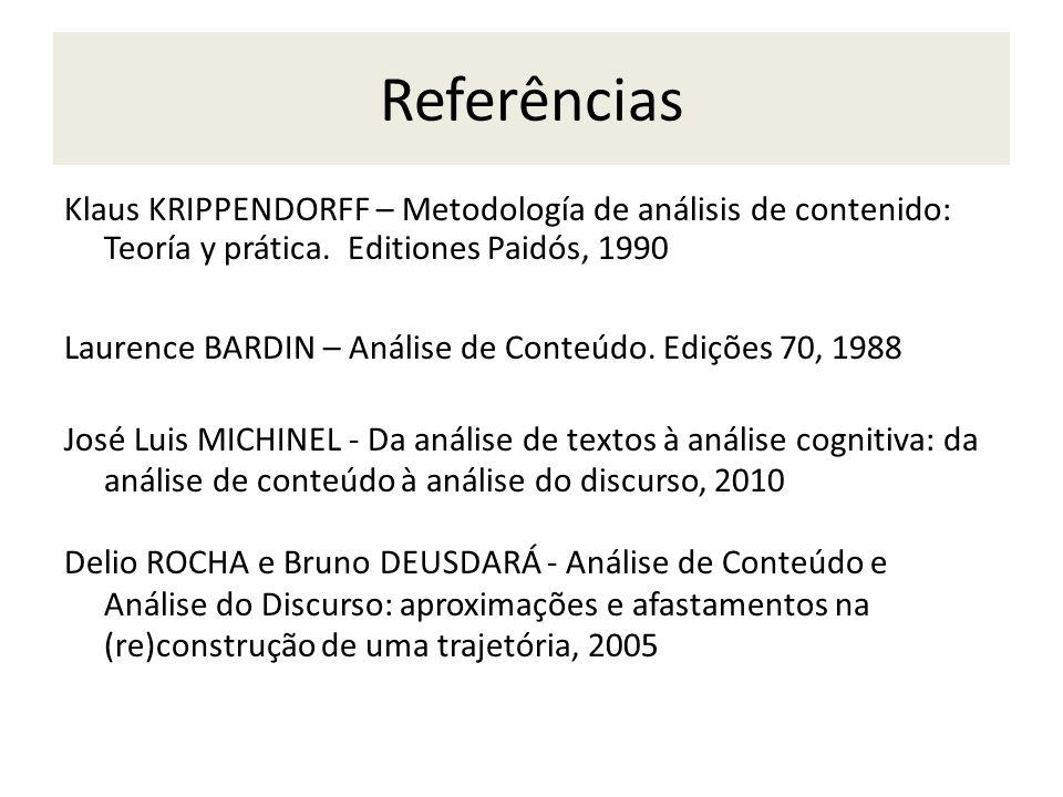 Referências Klaus KRIPPENDORFF – Metodología de análisis de contenido: Teoría y prática. Editiones Paidós, 1990 Laurence BARDIN – Análise de Conteúdo.