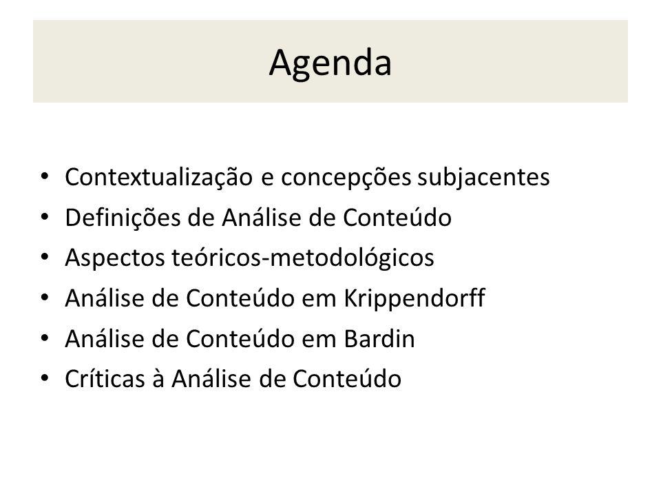 Agenda Contextualização e concepções subjacentes Definições de Análise de Conteúdo Aspectos teóricos-metodológicos Análise de Conteúdo em Krippendorff