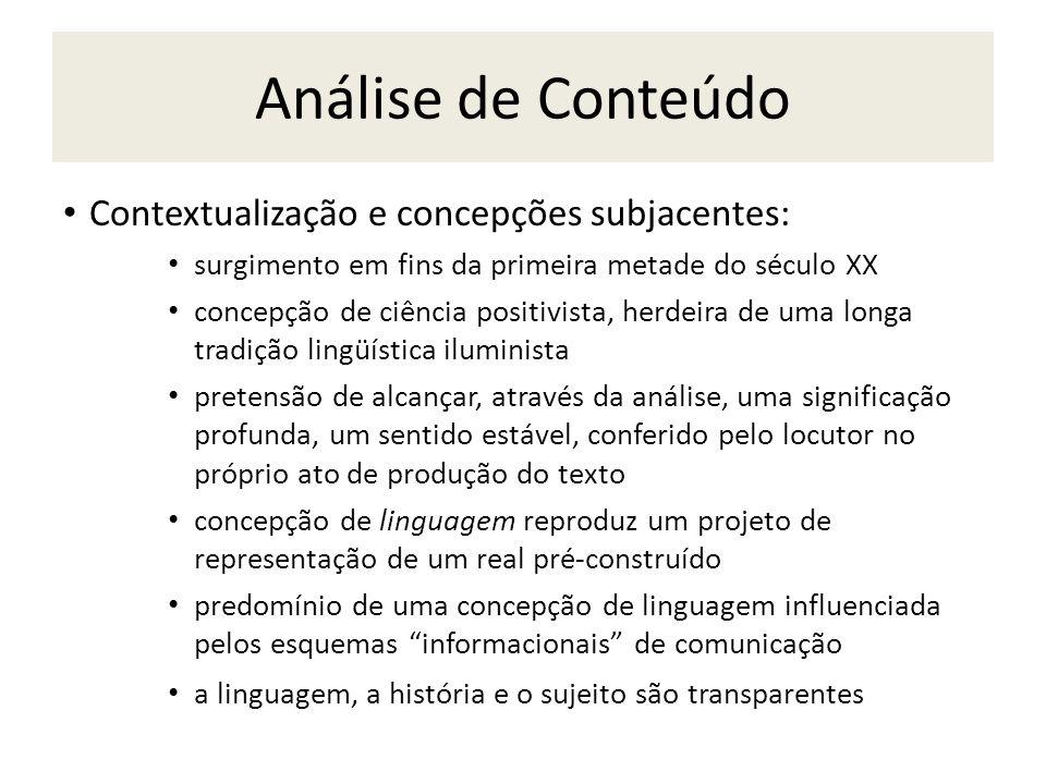 Análise de Conteúdo Contextualização e concepções subjacentes: surgimento em fins da primeira metade do século XX concepção de ciência positivista, he