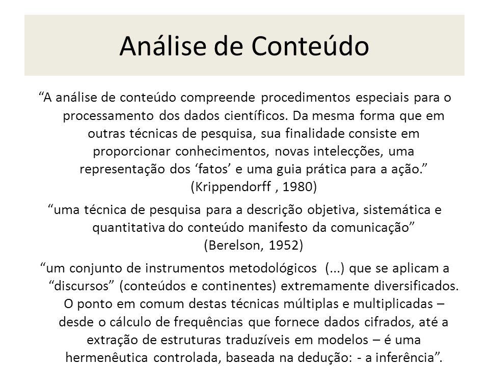 Análise de Conteúdo A análise de conteúdo compreende procedimentos especiais para o processamento dos dados científicos. Da mesma forma que em outras