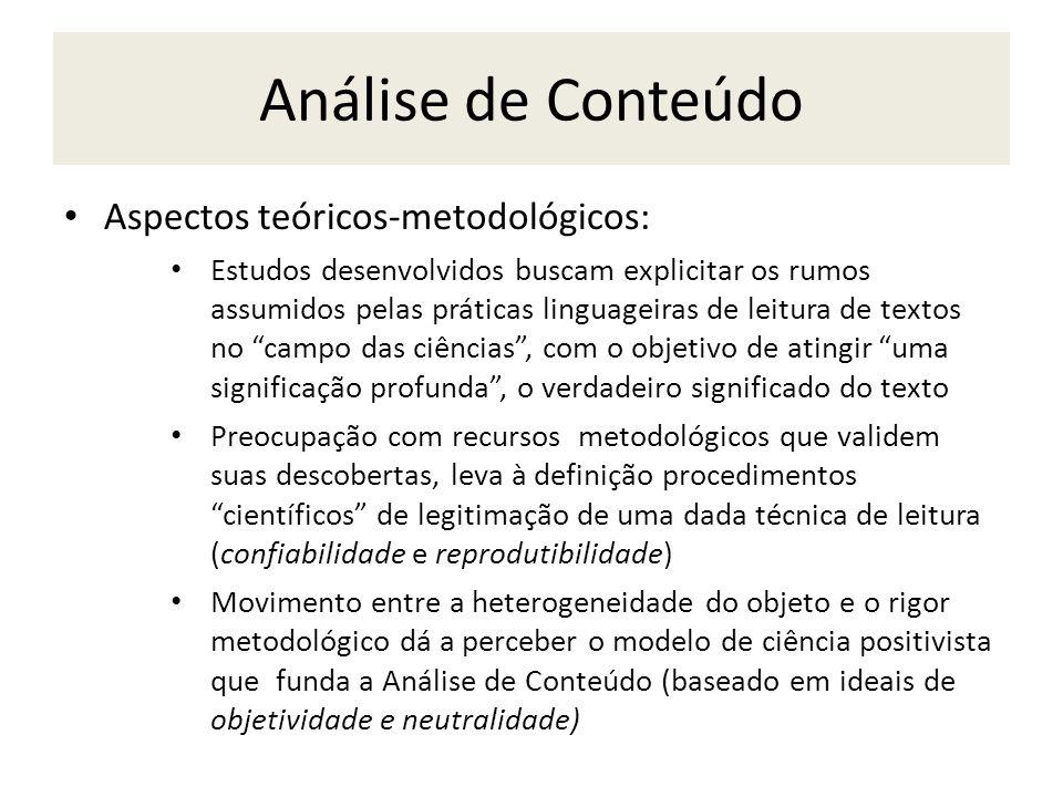 Análise de Conteúdo Aspectos teóricos-metodológicos: Estudos desenvolvidos buscam explicitar os rumos assumidos pelas práticas linguageiras de leitura