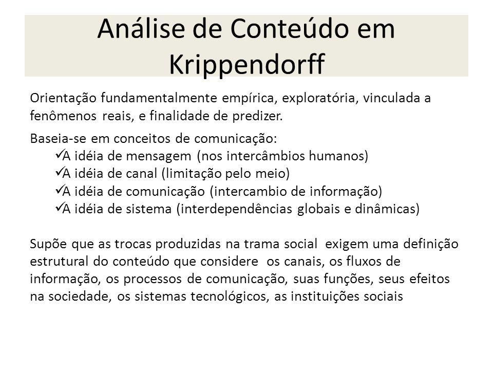 Análise de Conteúdo em Krippendorff Orientação fundamentalmente empírica, exploratória, vinculada a fenômenos reais, e finalidade de predizer. Baseia-