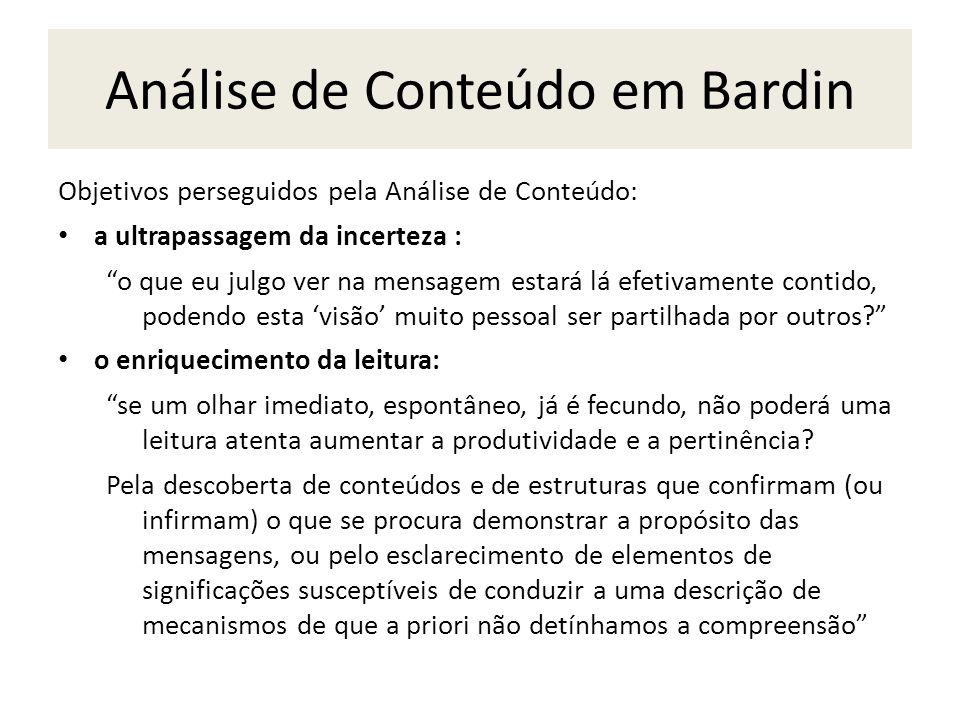 Análise de Conteúdo em Bardin Objetivos perseguidos pela Análise de Conteúdo: a ultrapassagem da incerteza : o que eu julgo ver na mensagem estará lá