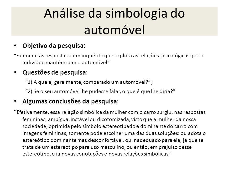 Análise da simbologia do automóvel Objetivo da pesquisa: Examinar as respostas a um inquérito que explora as relações psicológicas que o indivíduo man
