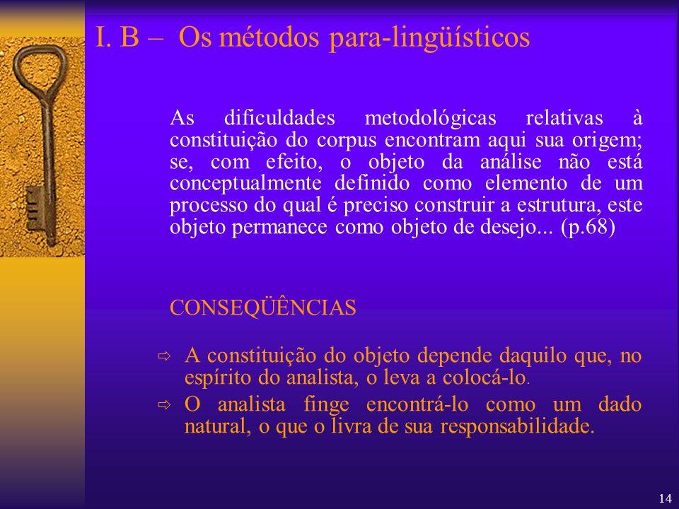 14 As dificuldades metodológicas relativas à constituição do corpus encontram aqui sua origem; se, com efeito, o objeto da análise não está conceptual