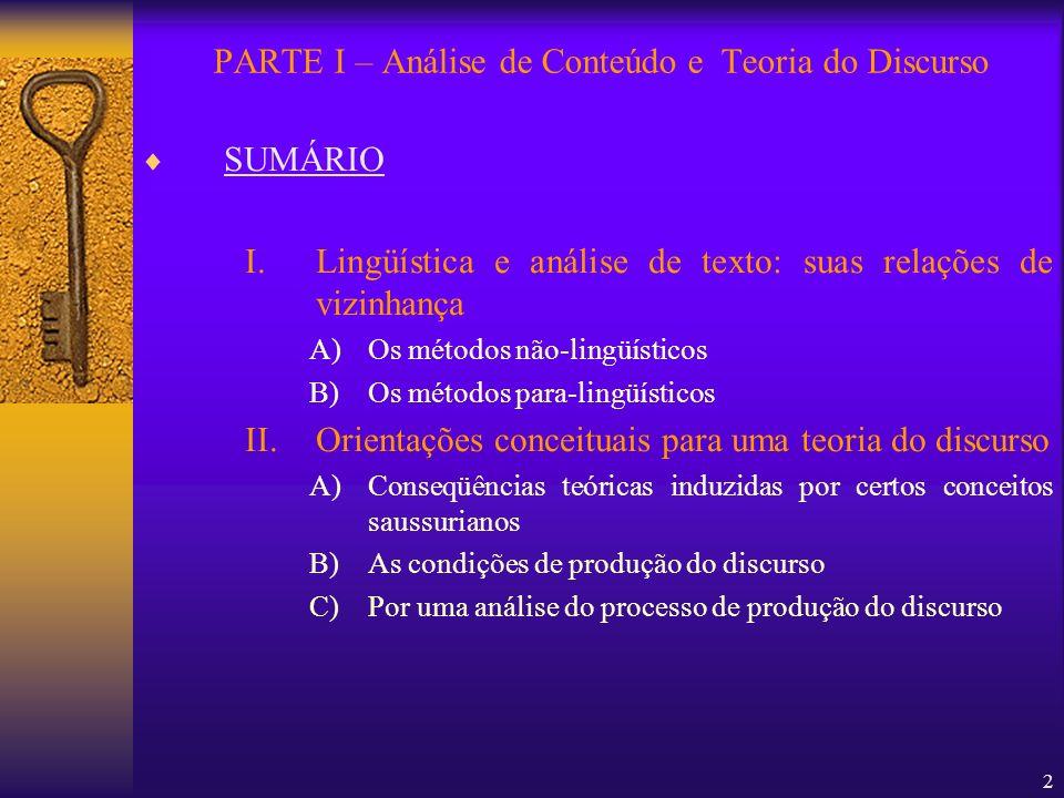 2 SUMÁRIO I.Lingüística e análise de texto: suas relações de vizinhança A)Os métodos não-lingüísticos B)Os métodos para-lingüísticos II.Orientações co