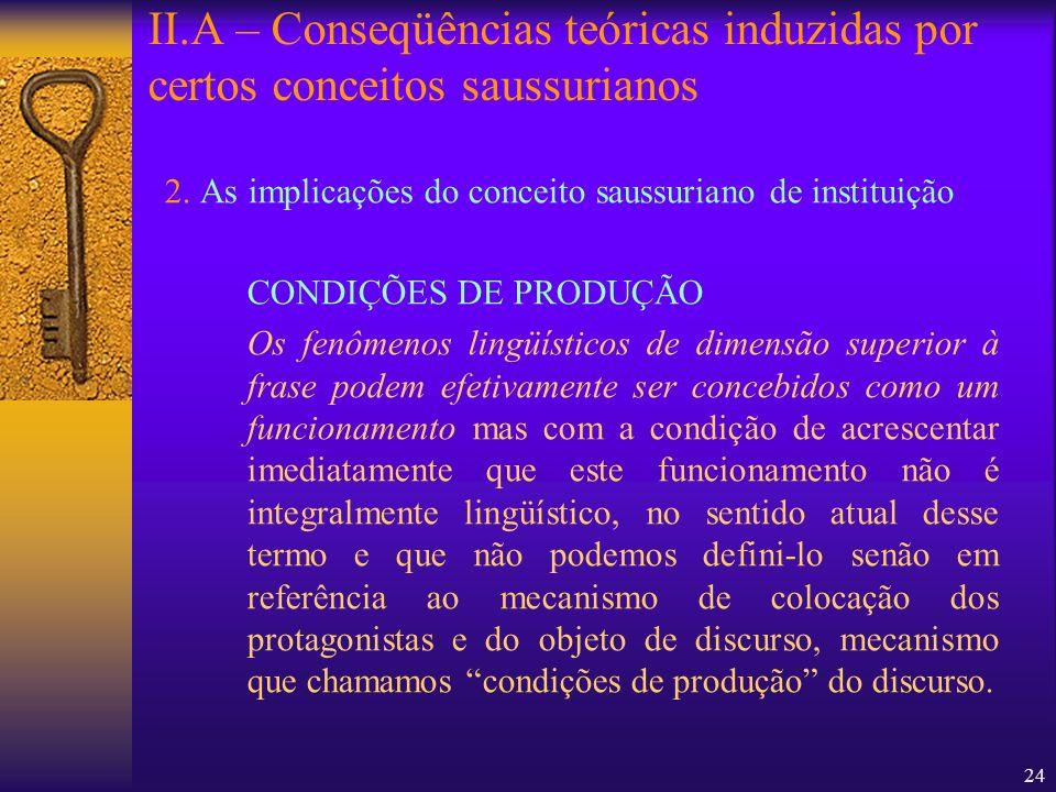 24 2. As implicações do conceito saussuriano de instituição CONDIÇÕES DE PRODUÇÃO Os fenômenos lingüísticos de dimensão superior à frase podem efetiva