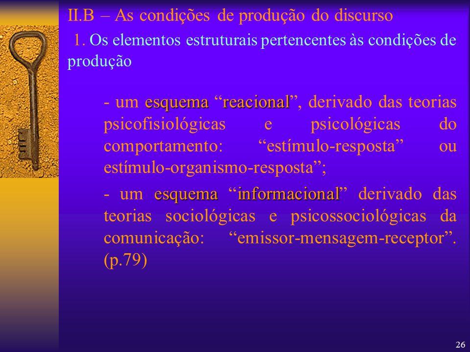 26 II.B – As condições de produção do discurso 1. Os elementos estruturais pertencentes às condições de produção esquemareacional - um esquema reacion