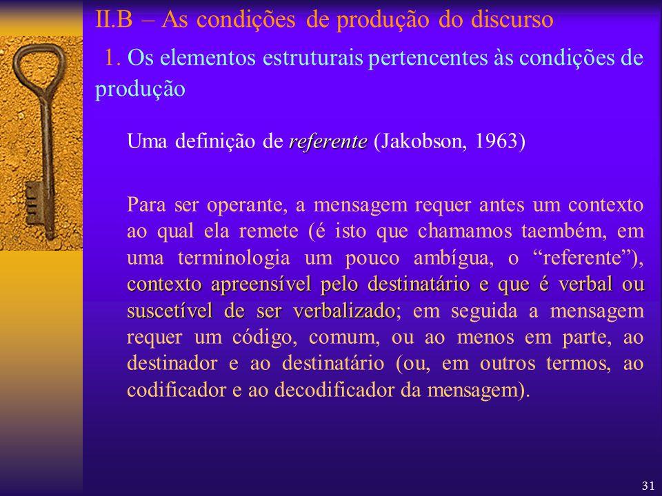 31 II.B – As condições de produção do discurso 1. Os elementos estruturais pertencentes às condições de produção referente Uma definição de referente