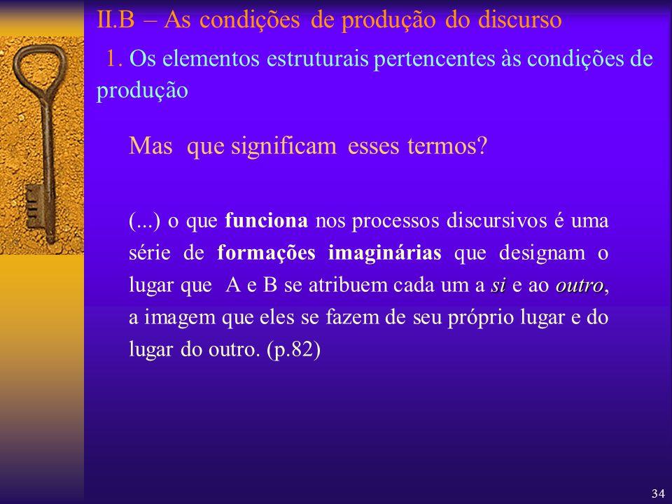34 II.B – As condições de produção do discurso 1. Os elementos estruturais pertencentes às condições de produção Mas que significam esses termos? siou