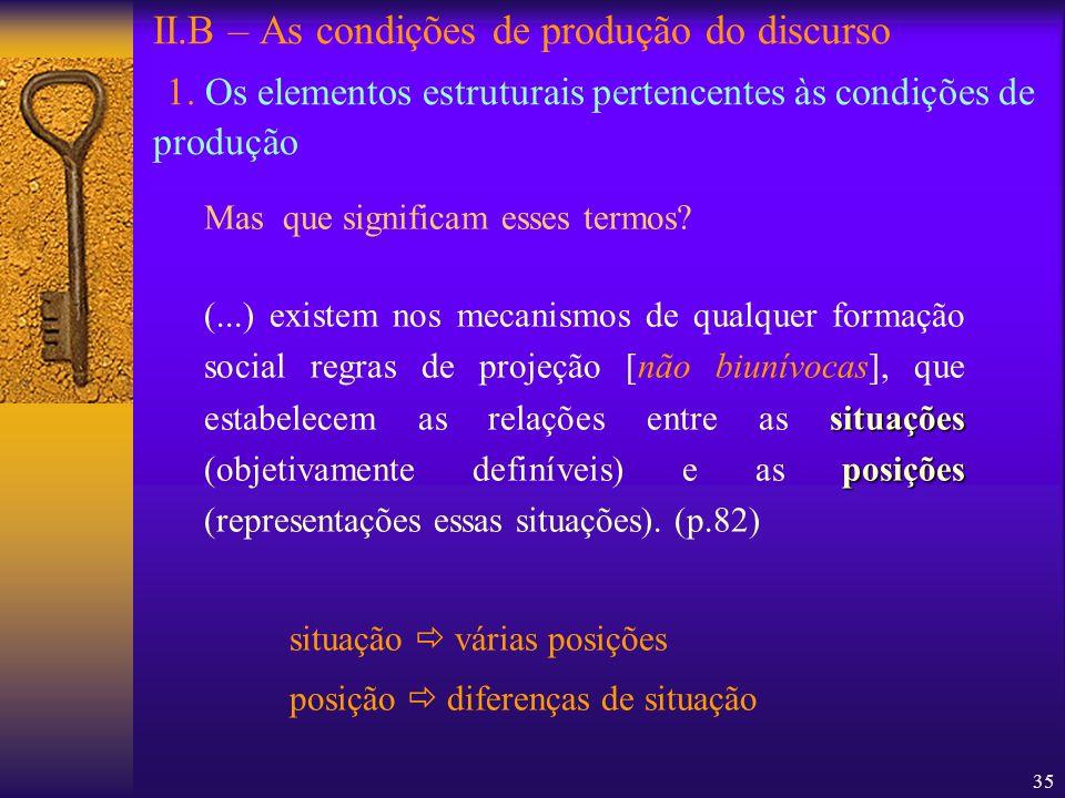 35 II.B – As condições de produção do discurso 1. Os elementos estruturais pertencentes às condições de produção Mas que significam esses termos? situ