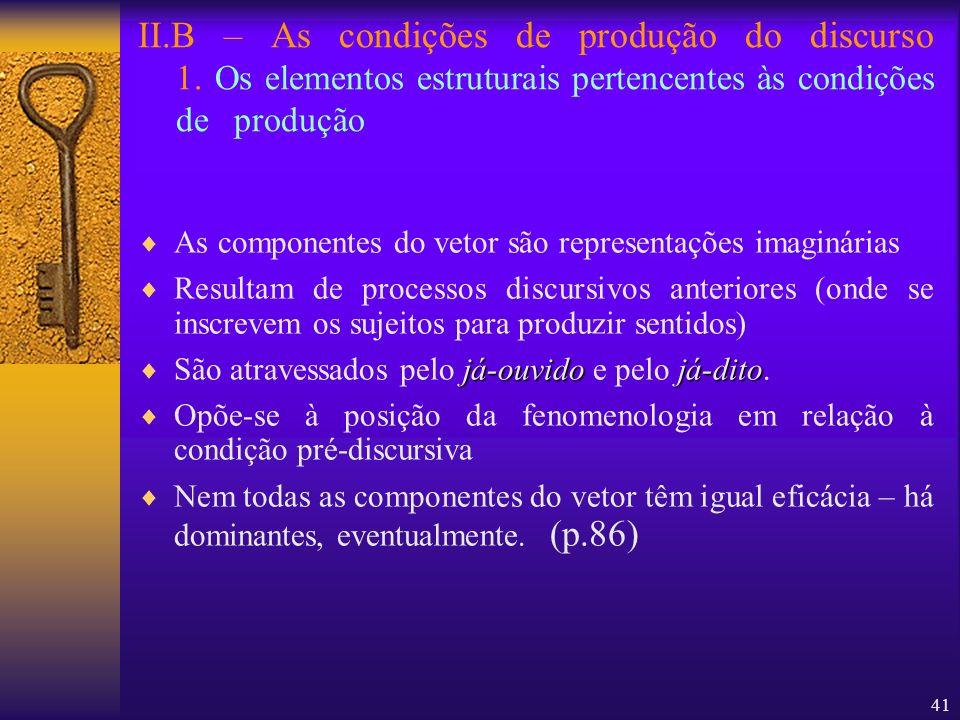 41 II.B – As condições de produção do discurso 1. Os elementos estruturais pertencentes às condições de produção As componentes do vetor são represent