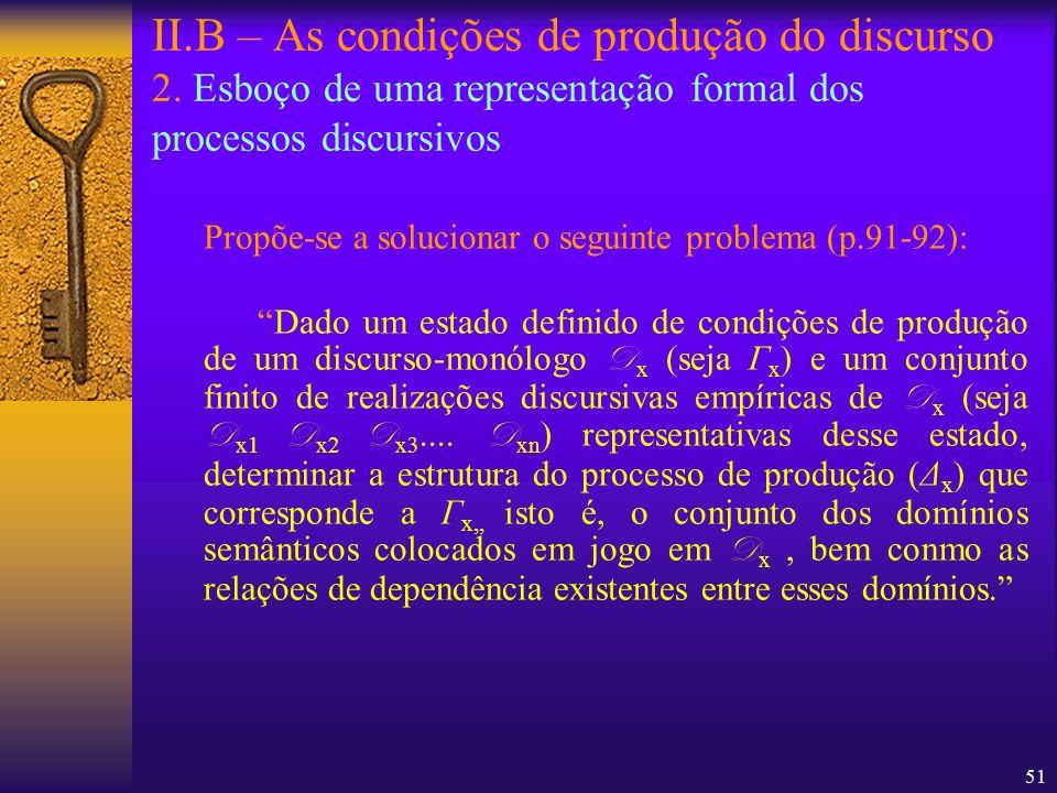 51 II.B – As condições de produção do discurso 2. Esboço de uma representação formal dos processos discursivos Propõe-se a solucionar o seguinte probl