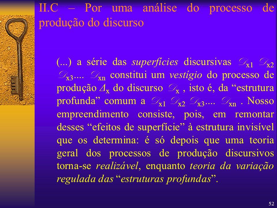 52 (...) a série das superfícies discursivas D x1 D x2 D x3.... D xn constitui um vestígio do processo de produção Δ x do discurso D x, isto é, da est