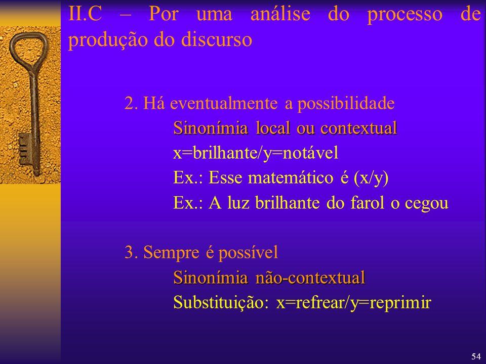 54 2. Há eventualmente a possibilidade Sinonímia local ou contextual x=brilhante/y=notável Ex.: Esse matemático é (x/y) Ex.: A luz brilhante do farol