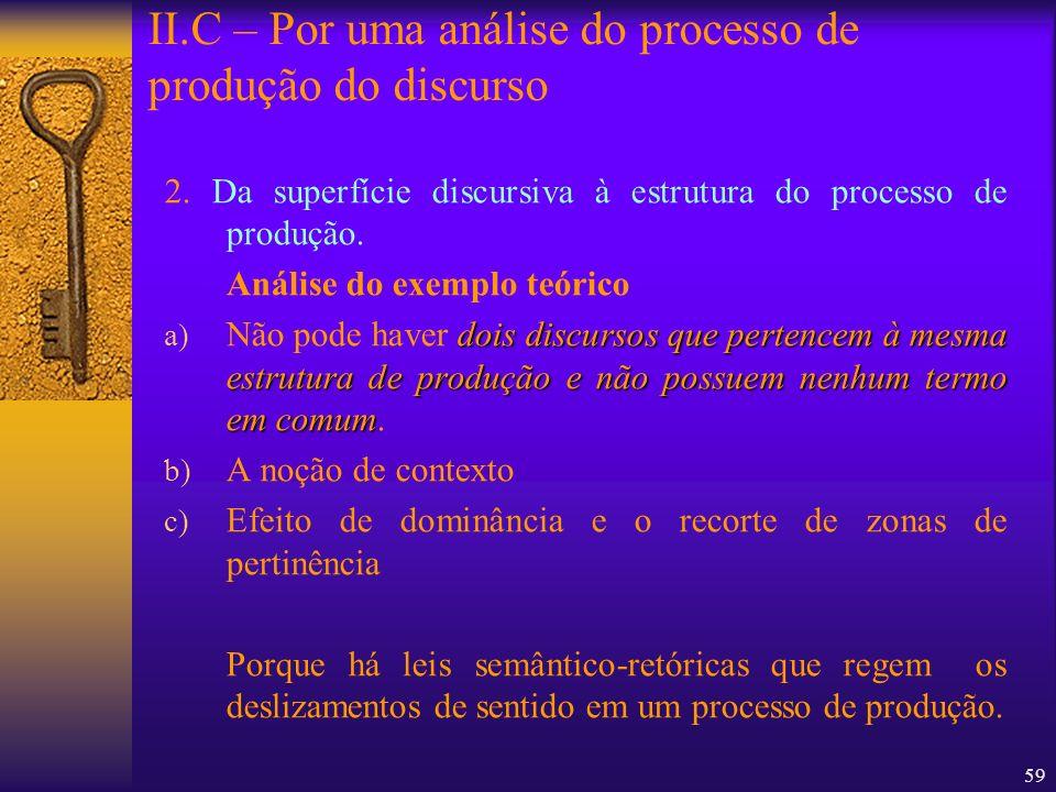 59 2. Da superfície discursiva à estrutura do processo de produção. Análise do exemplo teórico dois discursos que pertencem à mesma estrutura de produ
