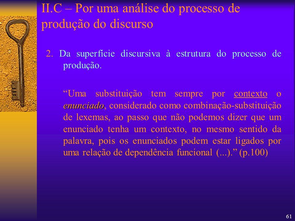 61 2. Da superfície discursiva à estrutura do processo de produção. enunciado Uma substituição tem sempre por contexto o enunciado, considerado como c