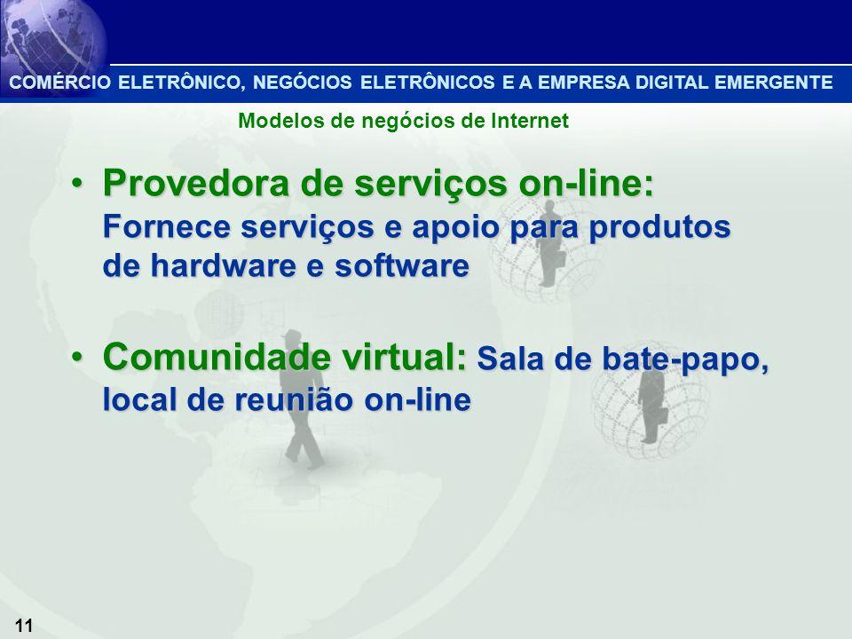 11 Provedora de serviços on-line: Fornece serviços e apoio para produtos de hardware e softwareProvedora de serviços on-line: Fornece serviços e apoio