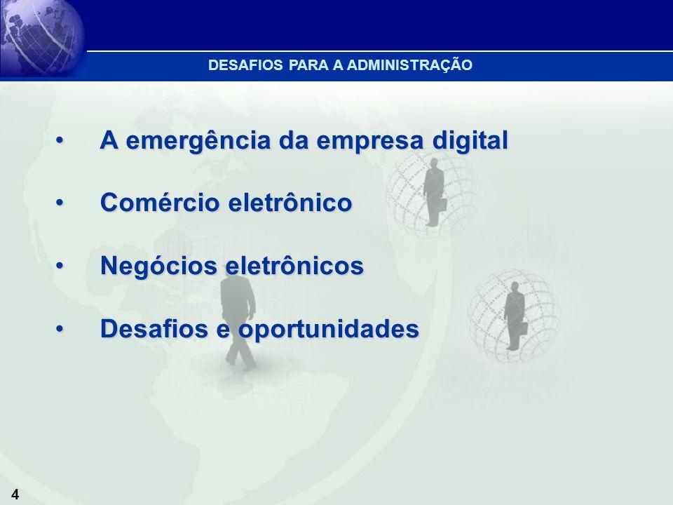 5 1.O comércio eletrônico e os negócios eletrônicos requerem uma mudança completa de estado de espírito 2.Descobrir um modelo de negócios de sucesso na Internet DESAFIOS PARA A ADMINISTRAÇÃO