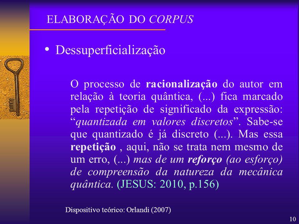 10 Dessuperficialização O processo de racionalização do autor em relação à teoria quântica, (...) fica marcado pela repetição de significado da expres