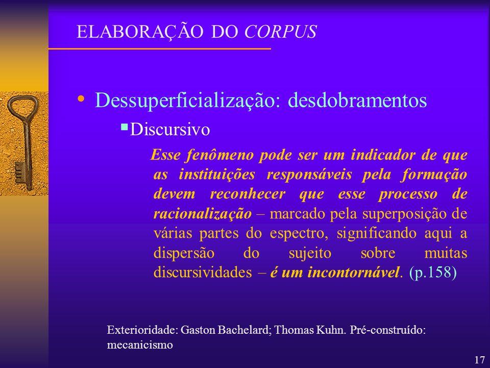 17 Dessuperficialização: desdobramentos Discursivo Esse fenômeno pode ser um indicador de que as instituições responsáveis pela formação devem reconhe