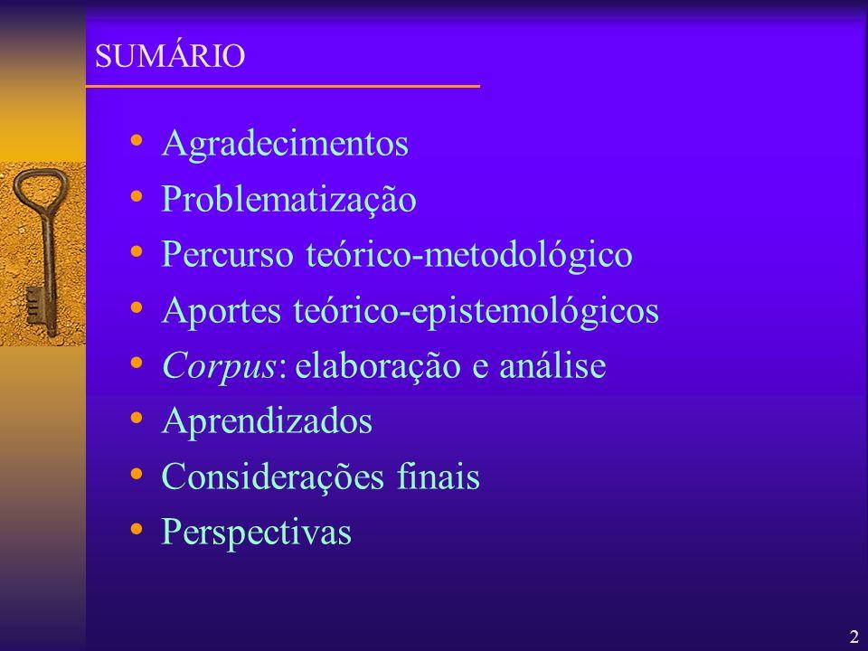 2 Agradecimentos Problematização Percurso teórico-metodológico Aportes teórico-epistemológicos Corpus: elaboração e análise Aprendizados Considerações