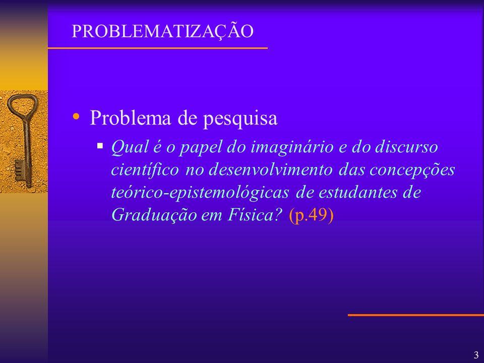 3 Problema de pesquisa Qual é o papel do imaginário e do discurso científico no desenvolvimento das concepções teórico-epistemológicas de estudantes d