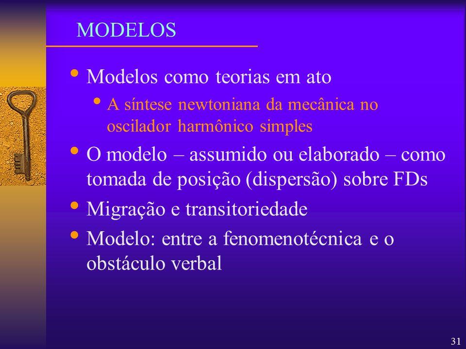 31 Modelos como teorias em ato A síntese newtoniana da mecânica no oscilador harmônico simples O modelo – assumido ou elaborado – como tomada de posiç