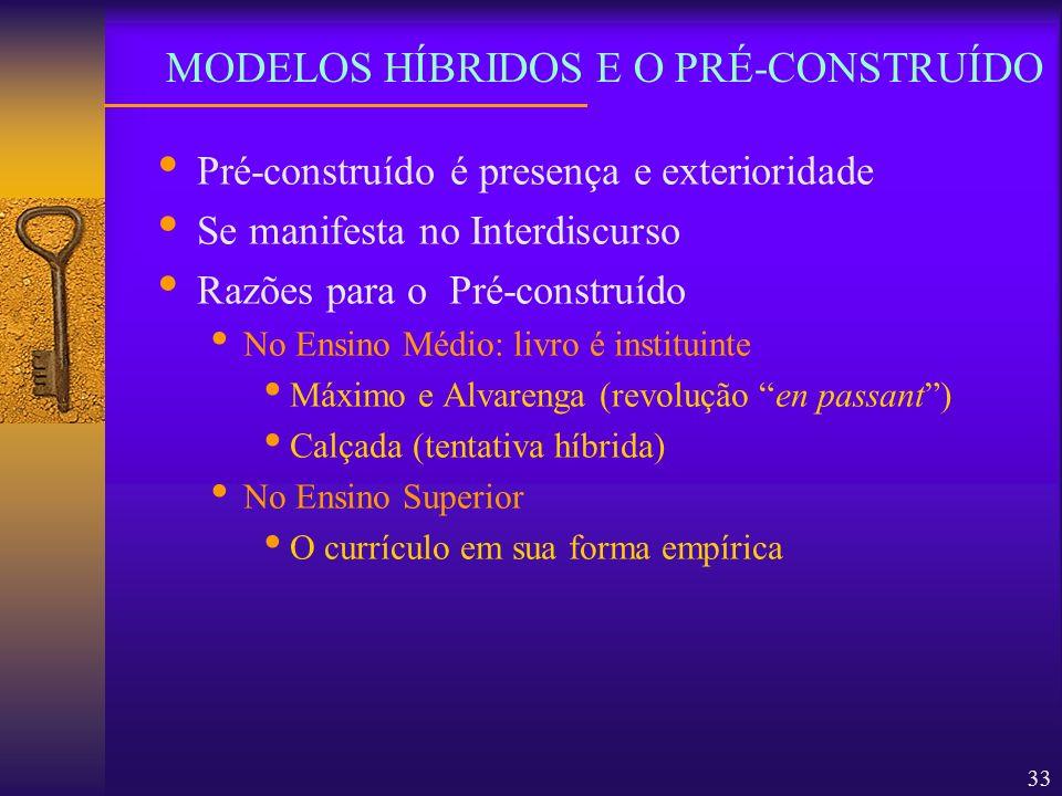 33 Pré-construído é presença e exterioridade Se manifesta no Interdiscurso Razões para o Pré-construído No Ensino Médio: livro é instituinte Máximo e