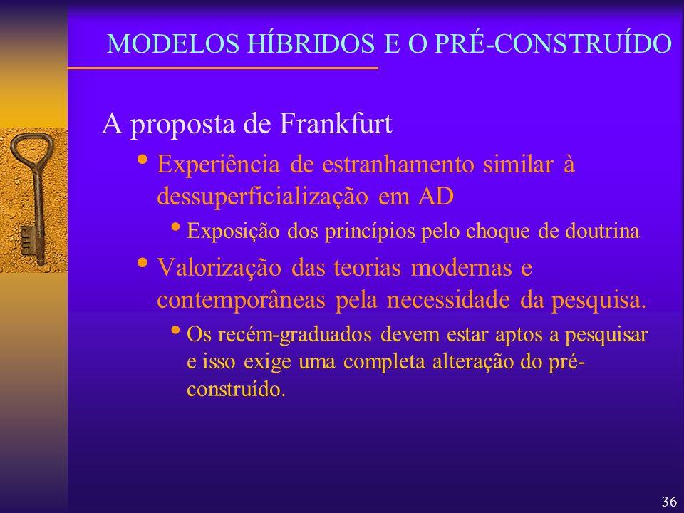 36 A proposta de Frankfurt Experiência de estranhamento similar à dessuperficialização em AD Exposição dos princípios pelo choque de doutrina Valoriza