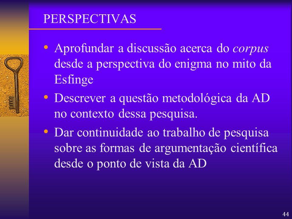 44 Aprofundar a discussão acerca do corpus desde a perspectiva do enigma no mito da Esfinge Descrever a questão metodológica da AD no contexto dessa p