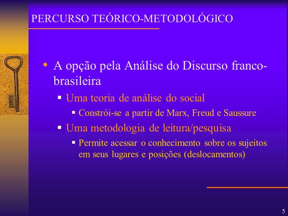 5 A opção pela Análise do Discurso franco- brasileira Uma teoria de análise do social Constrói-se a partir de Marx, Freud e Saussure Uma metodologia d