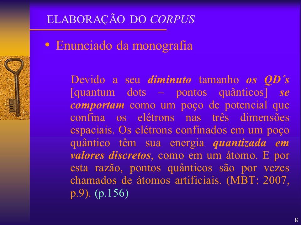8 Enunciado da monografia Devido a seu diminuto tamanho os QD´s [quantum dots – pontos quânticos] se comportam como um poço de potencial que confina o