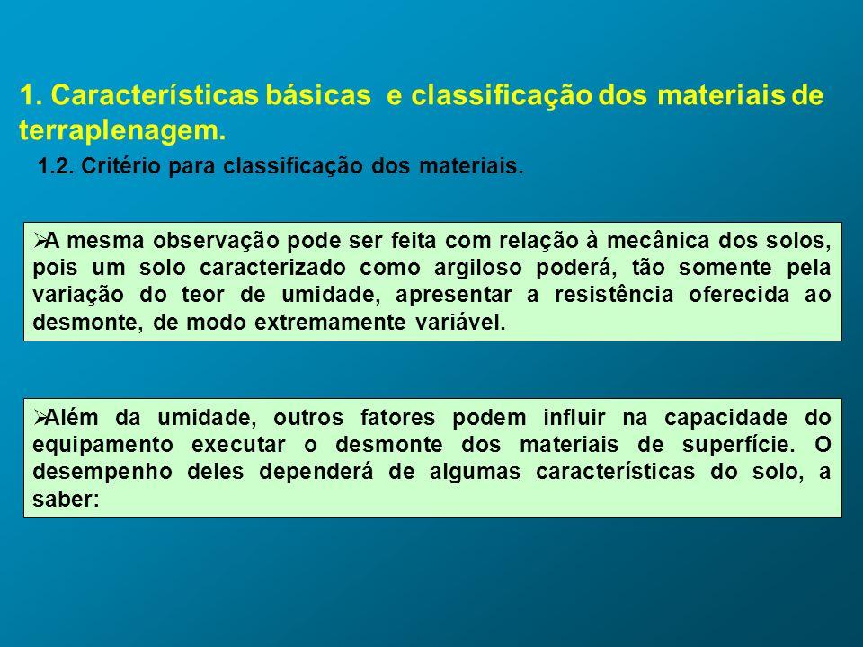 1. Características básicas e classificação dos materiais de terraplenagem. 1.2. Critério para classificação dos materiais. A mesma observação pode ser
