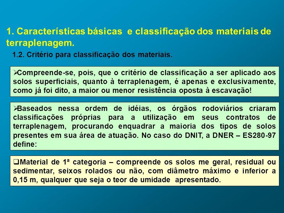 1. Características básicas e classificação dos materiais de terraplenagem. 1.2. Critério para classificação dos materiais. Compreende-se, pois, que o
