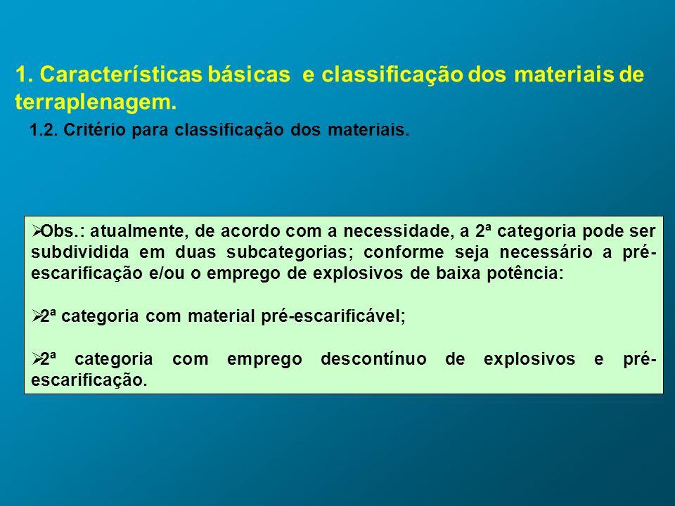 1. Características básicas e classificação dos materiais de terraplenagem. 1.2. Critério para classificação dos materiais. Obs.: atualmente, de acordo