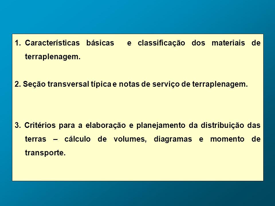1.Características básicas e classificação dos materiais de terraplenagem. 2. Seção transversal típica e notas de serviço de terraplenagem. 3. Critério
