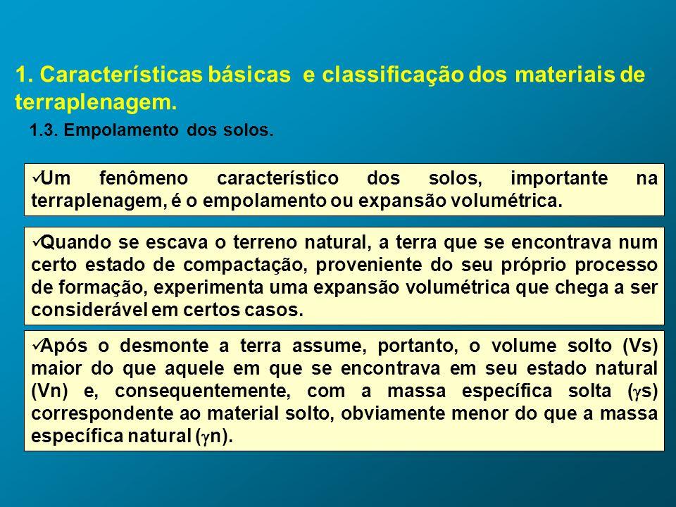 1. Características básicas e classificação dos materiais de terraplenagem. 1.3. Empolamento dos solos. Um fenômeno característico dos solos, important