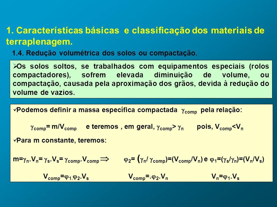 1. Características básicas e classificação dos materiais de terraplenagem. 1.4. Redução volumétrica dos solos ou compactação. Os solos soltos, se trab