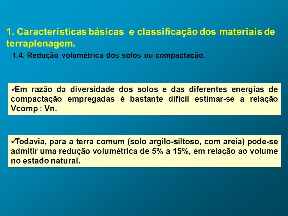 1. Características básicas e classificação dos materiais de terraplenagem. 1.4. Redução volumétrica dos solos ou compactação. Em razão da diversidade