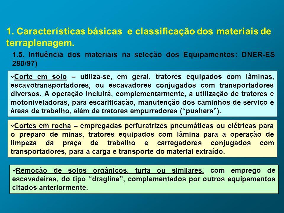 1. Características básicas e classificação dos materiais de terraplenagem. 1.5. Influência dos materiais na seleção dos Equipamentos: DNER-ES 280/97)