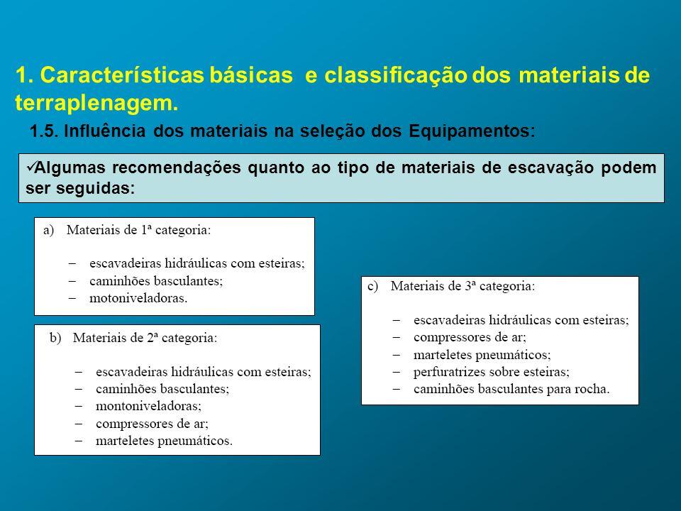 1. Características básicas e classificação dos materiais de terraplenagem. 1.5. Influência dos materiais na seleção dos Equipamentos: Algumas recomend