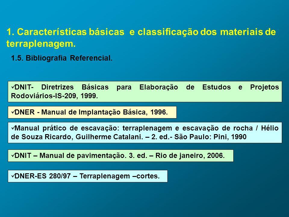1. Características básicas e classificação dos materiais de terraplenagem. 1.5. Bibliografia Referencial. DNIT- Diretrizes Básicas para Elaboração de